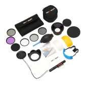 K & F CONCEPT 16-in-1 58mm UV+CPL+FLD+ND2+ND4+ND8 Filter Kit with 58mm 0.43x HD Wide Angle Lens+ Close-up Lens Flash Diffuser Set Lens Hood Cover Cleaning Lens Pens Tissue Cloth Air Blower Pouch for Canon EOS 600D 650D 700D Rebel T5i T4i T3i Nikon D7100 D