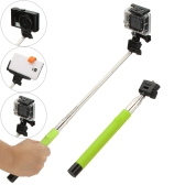 180 Degree Rotation Multifunctional Extendable Wireless Bluetooth Remote Shutter Handheld Selfie Self-Timer Monopod Grip Pole for Gopro Hero 4/3+/3/2/1 SJCAM Mirrorless Card Digital Camera with Tripod Mount Adapter Silicone Cap Micro USB Cable Adjustable Holder Frame for iPhone Sony Samsung