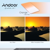 Andoer GND Graduated Orange 100 * 150mm Square Filter Z Series Filter for Cokin Z