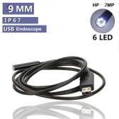 2MP Waterproof 9mm USB Inspection Camera Borescope Endoscope Snake Scope 6LEDs 7M Cable
