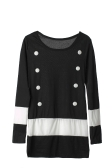 New Casual Women Dress Long Sleeve Double Breasted Stripe One-piece Mini Dress Black