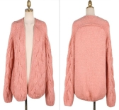 Korean Fashion Women Cardigan Candy Color Long Sleeve Sweater Knitwear Loose Coat Pink