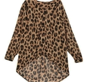 New Fashion Women Chiffon Blouse Leopard Long Sleeve High-low Hem Loose Shirt Tops