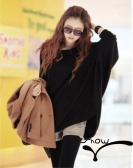 Casual Women Slouchy Knit Shirt Scoop Neck Batwing Sleeve Stretchy Loose Pullover Black