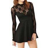 New Fashion Women Mini Dress Floral Lace Long Sleeve Clubwear Skater Dress Black