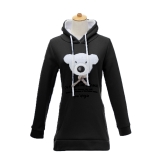 New Cute Women Girl Hoodie Fleece Character Print Long Sleeve Pullover Coat Sweatshirt Black/Pink/Blue
