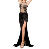 Fashion Women Maxi Dress Embroidery Mesh Insert Side Split Open Back Sleeveless Floor-Length Party Dress Black
