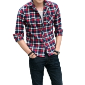 Korean Fashion Men Shirt Plaid Check Pattern Turn-down Collar Long Sleeve Pocket Casual Tops for Couple