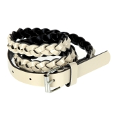 Fashion Women Lady Braided Belt Candy Color Skinny Thin Weave Plaid Buckle Cross Belt PU Leather Beige