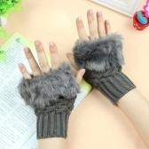 New Fashion Women Gloves Faux Rabbit Fur Fingerless Knitted Warm Short Mittens
