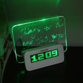 LED Digital Fluorescent Message Board Clock Alarm Temperature Calendar Timer USB Hub Green Light