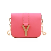 New Fashion Women Chain Bag PU Leather Candy Color Mini Crossbody Shoulder Bag Watermelon Red