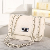 Fashion Elegant Women Girl Bag PU Leather Plaid Handbag Chain Messenger Shoulder Bag Beige