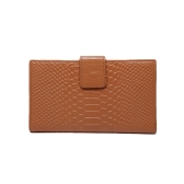 Fashion Women Genuine Leather Purse Crocodile Pattern Candy Color Clutch Bag Wallet Khaki