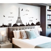 Paris Eiffel Tower Night View Beautiful Romantic Simple Black DIY Wall Stickers Wallpaper Art Decor Mural Room Decal