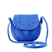 New Fashion Women Mini Shoulder Bag PU Leather Messenger Crossbody Bag Drawstring Handbag Blue