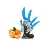 "Zirconia Ceramic Kitchen knife Set 3"" 4"" 5"" 6"" inch with Blue Flower Printed + Peeler + Holder"