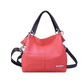 Fashion Women Vintage Handbag Candy Color PU Leather Patchwork Crossbody Messenger Shoulder Bag Tote Brown