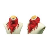 110*110cm Military Arabian Shemagh Tactical Desert Head Scarf Fringed Shawl Stole Muffler Headdress Unisex 100% Cotton Red