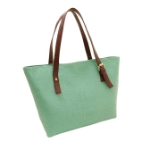 New Fashion Women Lady Handbag PU Leather Vintage Print Candy Color Tote Shoulder Bag Green