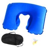 旅行 アウト オフィス用 家用 車用 3in1 スリーピングアイシェード+ネックピローU字型 クッション(インフレータブル枕) +ノイズキャンセリング耳栓