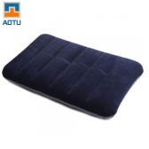 Flocking Inflatable Pillow Cushion Camping Travel Outdoor Office Plane Hotel Portable Folding Dark Blue