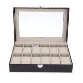 12 Grids Leather Watch Display Case Jewelry Collection Storage Organizer Box Holder