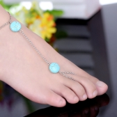 Bohemia Turquoise Bead Barefoot Sandal Anklet Toe Ring Foot Ankle Chain