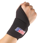 SX502 Monolithic Sports Gym Elastic Stretchy Wrist Joint Brace Support Wrap Band Guard Protector Thumb Loop Black