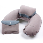 Air Pillow Inflatable U Shape Neck Blow Up Cushion PVC Flocking Camping Travel Outdoor Office Plane Hotel Portable Folding