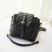 New Fashion Women Girl Handbag PU Leather Quilted Plaid Shoulder Messenger Bag Black