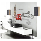 Red London Double-decker Bus Wall Decal Removable Sticker Creative Art Mural Decoration 60*90cm