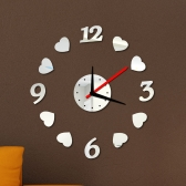Creative Digits Loving Heart Wall Clock Stickers Set DIY Mirror Effect Acrylic Glass Decal Home Removable Decoration