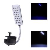 Aquarium Fish Tank Water Plant 24 LEDs Clip Light Lighting Lamp 2 Working Modes White & Blue  Flexible