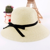Fashion Women Sun Hat Straw Hat Wide Brim Summer Beach Headwear Beige
