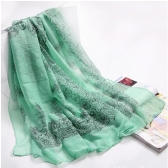 Fashion Elegant Women Scarf Porcelain Printing Long Shawl Wrap Pashmina Green