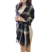 New Fashion Women Men Scarf Plaid Button Front Tassel Trim Warm Shawl Cape Wrap Pashmina Unisex
