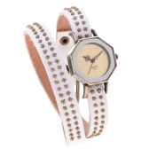 Women Lady Quartz Wrist Watch Vintage Rivets Octagon Bronze Wrap Strap Bracelet