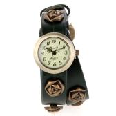 Women Ladies Vintage Punk Style Rose Wrap Around Leather Bracelet Wrist Watch Green