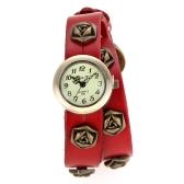 Women Ladies Vintage Punk Style Rose Wrap Around Leather Bracelet Wrist Watch Red