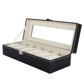 6 Grid Leather Watch Display Case Jewelry Collection Storage Organizer Box Holder