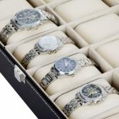 12 Grid Leather Watch Display Case Jewelry Collection Storage Organizer Box Holder