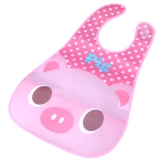 Cute Pig Baby Bib Infant Saliva Towel Waterproof Unisex with Pouch