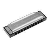 Swan Diatonic Harmonica 10 Holes Blues Harp Mouth Organ Key of G Reed Instrument with Case Silver