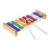Wood Pine Xylophone 8-Note 3mm Colorful Aluminum Plate C Key Percussion Toddle Kid Musical Toy
