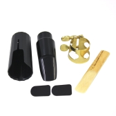 Soprano Sax Saxophone Mouthpiece Plastic with Cap Metal Buckle Reed Mouthpiece Patches Pads Cushions