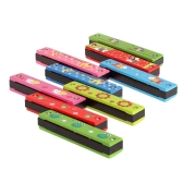 Tremolo Harmonica 16 Holes Kids Musical Instrument Educational Toy Wooden Cover Colorful Free Reed Wind Instrument