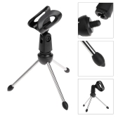 Desktop Mic Microphone Tripod Stand Holder Bracket with Rubber Cap Foldable Portable Durable