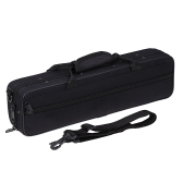 600D Water-resistant Gig Bag Box Oxford Cloth for Western Concert Flute with Adjustable Single Shoulder Strap Pocket Cotton Padded