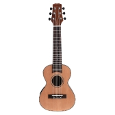 "Andoer 28"" Guitalele Guitarlele Guilele Travel Guitar Solid Cedar Rosewood Fretboard Bridge Stringed Instrument with Built-in 3-band EQ Gig Box Audio Cable Strap"